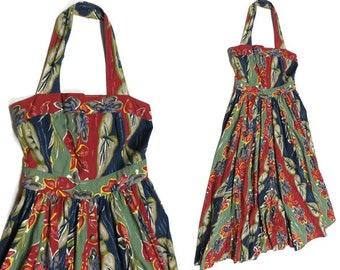 Vintage 1980s Cotton Tropical Print Empire Waist Halter Dress Mid-Calf'Maxi Dress; Size M - 8/10