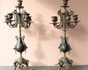 Antique French pair of candelabra candle holders bronze marble Napoleon 3 French chateau chic