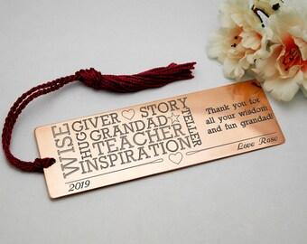 Personalised gift for grandad customised present birthday gift for him gift for men custom engraved copper bookmark birthday gift customised