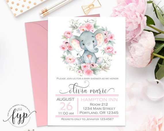 Elephant baby shower invitation girl safari baby shower filmwisefo