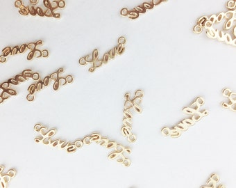 Gold Cursive Love Connector Charm // Combo Bracket 1 // BBB Supplies // CG028