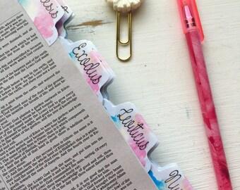 Bible Tabs Laminated with Adhesive | Watercolor | Bible Journaling