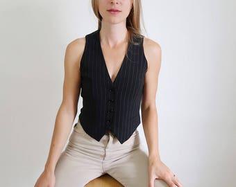 90s Navy Blue Pinstriped Vest