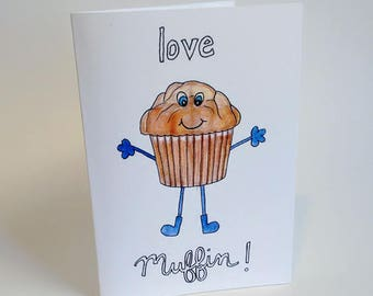 Anniversary/I Love You/Valentine's Day Love Muffin Greeting Card - Handmade and printed from original ink and gouache illustration