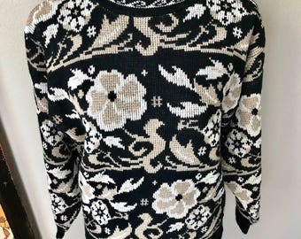 Vintage 1990s Tan Black White Floral Hippie Psychedelic Hipster Sweater Sz M