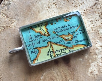 Mackinac Island Michigan Map Pendant, Travel Gift, Silver Map Pendant