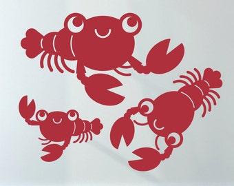 Happy Lobster Wall Decals: Baby Ocean Nursery Underwater Sea Life Theme Under the Sea Kids Room Decor