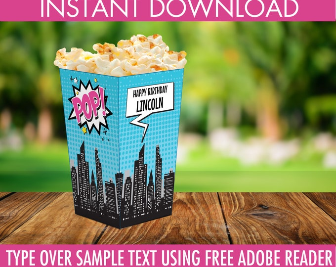 Supergirl /Superhero Popcorn Box - Supergirl Birthday Party, Supergirl Decor, Self-Editing   DIY Editable Text INSTANT DOWNLOAD Printable