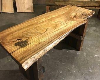 The Prairie Desk- Live Edge Siberian Elm desk with reclaimed wooden pallet legs