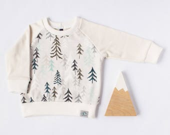 Baby sweatshirt, toddler sweatshirt, organic baby clothes, trees