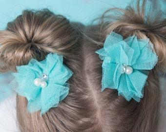 teal hair bow, teal flower clip, girl hair accessories, piggy tail hair clips, girl birthday gift, flower girl gift, baby hair clip, toddler