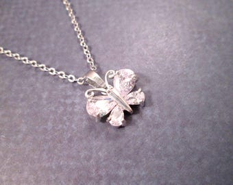 Butterfly Pendant Necklace, Cubic Zirconia Necklace, Silver Chain Necklace, FREE Shipping U.S.
