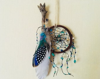 Boho Dreamcatcher Native America Little dream catcher Free shipping  Feather decor Wall hanging boho  Indian talisman gift