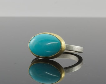 Turquoise Ring 22k Gold & Sterling Silver - Size 5 - Bezel Set Cabochon - Natural Gemstone Ring - Sleeping Beauty Turquoise - One of A Kind