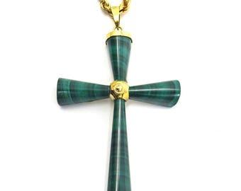 14k Gold Malachite Cross Pendant Necklace 18 inches