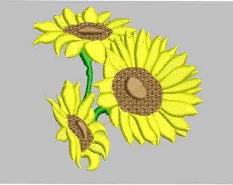 Sunflower machine embroidery, sunflower
