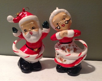 Vintage HTF Japan Christmas Hula Hoop Santa and Mrs Claus Ornaments Figurines RARE