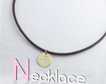 Personalized Leather Disc Initial Necklace / Gold White Gold Plated/ Black Brown Leather Chain / Christmas Bridesmaids Gift