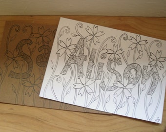 Personalised Card, Name and Flowers Birthday Card, Original Hand Drawn Card