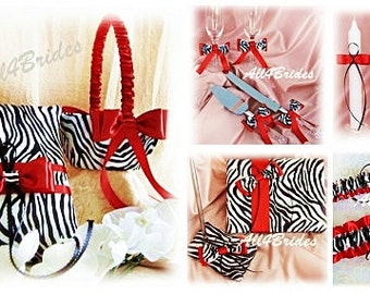 Red and Zebra wedding basket - pillow - guest book - bridal garters - flutes - cake set - candles - red and zebra weddings