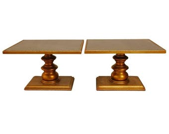 Pair of Hollywood Regency Giltwood Square Pedestal Tables