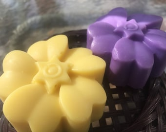 Flower Power Floral Pastel Handmade Soap-Yellow Jonquil or Purple Lavender