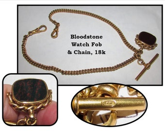 Antique Carnelian Bloodstone Swivel Fob and Gold T Bar, Clips and Pocket Watch Chain, 18k, T&H, British Hallmarks