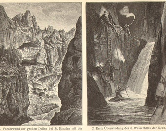 1904 Antique Engraving of Caves, Skocjan Caves and Aggtelek Karst