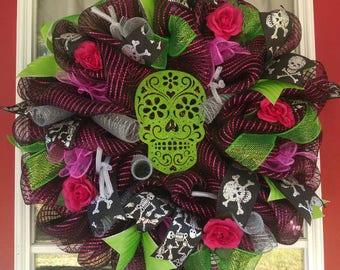 Sugar Skull Day of the Dead Halloween Wreath