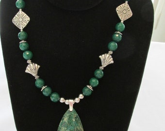 Beautiful Jade Necklace and Chrysocolla Pendant  Silver