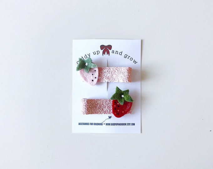 Strawberry Hair Clip Set Glitter Summer Fruit Giddyupandgrow