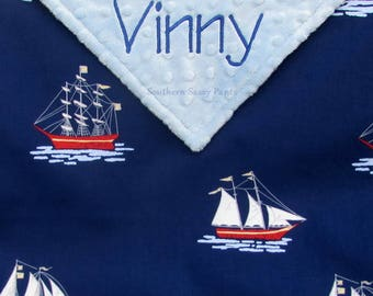Nautical Baby Blanket,  Sailing Adventure Nursery, Sail Boat Blankets, Baby Boy Sailboat, Baby Girl Sailor, Gender Neutral Ship, Personalize