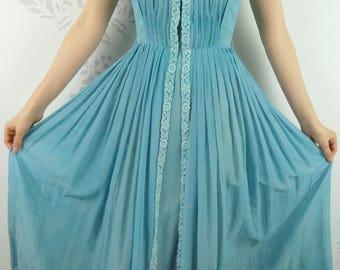 VINTAGE BLUE DRESS 1950s Lace R & K Originals Size Extra Small