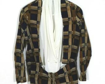 Vintage 1940s Brown Plaid Velvet Waistcoat Blazer, Sz XS