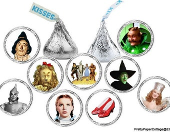 Wizard of Oz Stickers, Candy Stickers, Hershey Kiss Stickers, Birthday, Baby Shower, Tea Party, Party Favors, 108 Stickers
