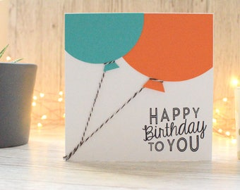 Balloon Birthday Card; Children's Birthday Card; Greetings Card; Boyfriend Birthday; Cards for Kids; Handmade Card; Personalised Card