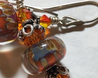 Orange borosilicate earrings