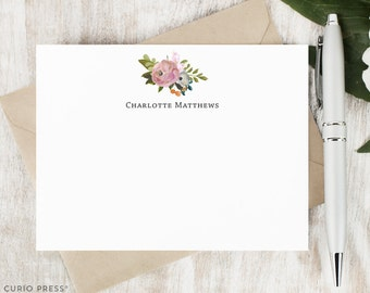 Personalized Pretty Notecard Set / Flat Personalized Stationary / Stationery Note Card Set / Painted Watercolor Flower // AMELIA FLORALS II