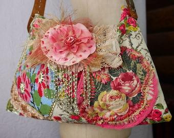 """Boho bag, antique, """"Romantic rose""""  floral, gipsy, unique, art to wear, Romantic"""