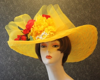 Yellow Kentucky Derby Hat, Derby Hat, Garden Party Hat, Tea Party Hat, Easter Hat, Church Hat, Wedding Hat, Downton Abbey Yellow Hat 970