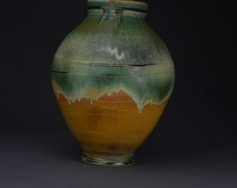 Pottery Vase, Decoration Pottery , Ceramic Vase, Wheel Thrown Pottery, Center Piece, Green Orange Pottery Vase 2