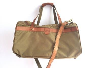 Vintage Hartmann Khaki Packcloth Polycanvas and Leather Large Weekend Duffel Bag / Vintage Hartmann Luggage / Unisex Luggage Duffel Bag