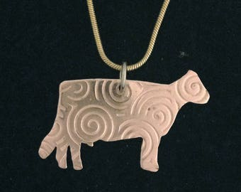 Dairy Cow in Copper Pendant Necklace with Scroll Pattern also comes in Brass and Gold Plated Snake Chain or Leather cord Livestock Jewelry