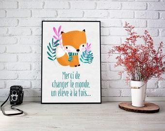 "Illustration ""Sweet Fox"" for teacher - ready to ship"