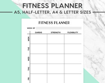 NEW! FITNESS PLANNER Printable | Pastel, A5 size, A4 size, Half-Letter size, Letter size, Workout Planner, Fitness Plan, Exercise Plan