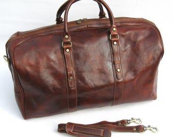 Italian Leather Weekender Travel Duffel Bag by Enzo Olletti