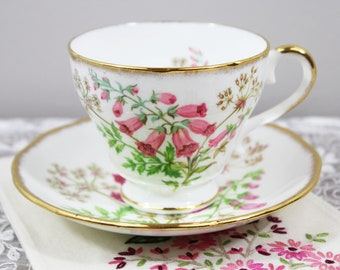 Vintage Salisbury 'Foxglove' Pink Floral English Bone China Teacup and Saucer, Gifts for Her Tea Party