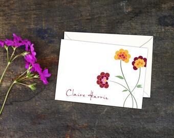 Polka Dot Chrysanthemum Folded Notecards, Set of Ten Cards, A2 Folded Note Cards, Personalized Note Cards, Personal Cards, Floral Note Cards