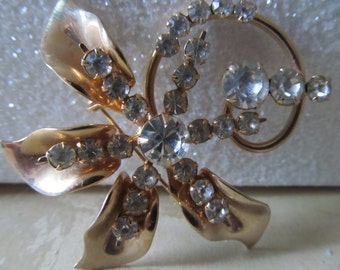 Vintage Gold Tone 1960's Brooch with Prong-set Rhinestones - DAZZLE
