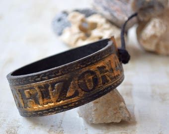 Arizona men's leather cuff bracelet Western Wristband Repurposed recycled belt Distressed cowboy southwestern Stamped leather tooled cuff